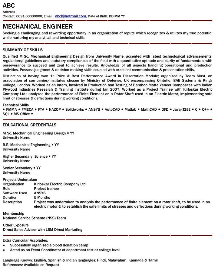resume headline for civil engineer experience template in engineering templates Resume Resume Headline For Fresher Electrical Engineer