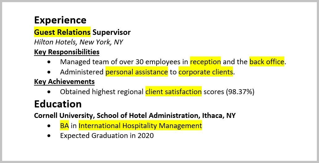 resume keywords by industry for use to pass the ats healthcare highlighted in experience Resume Keywords For Healthcare Resume