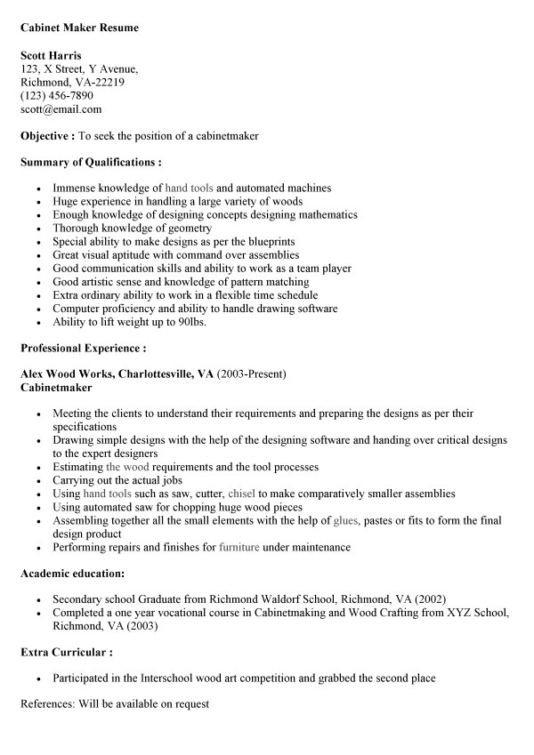 resume maker cv cabinet example sample retail examples communication section judy entry Resume Cabinet Maker Resume Example Sample