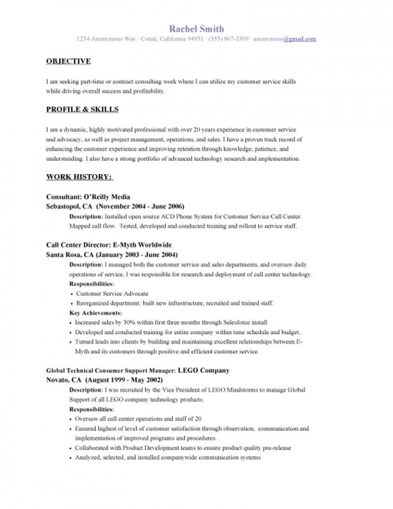 resume objective examples for customer service career 768x994 director of transportation Resume Career Objective For Resume Customer Service
