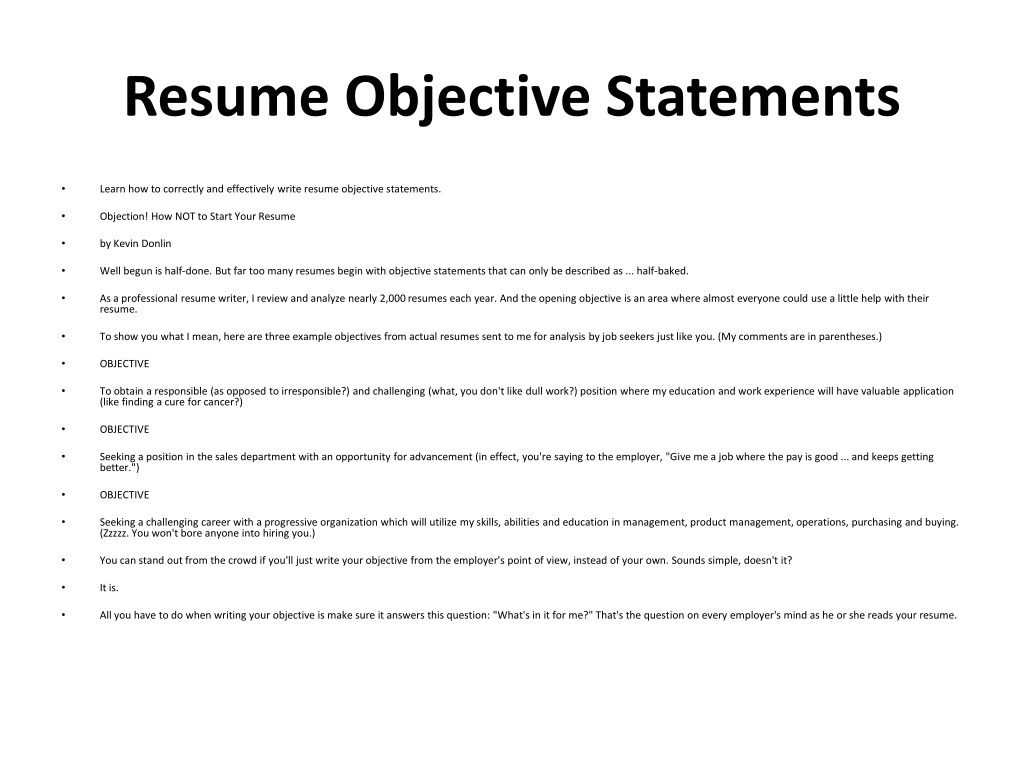 resume objective samples powerpoint presentation free id for any type of job statements Resume Resume Objective For Any Type Of Job