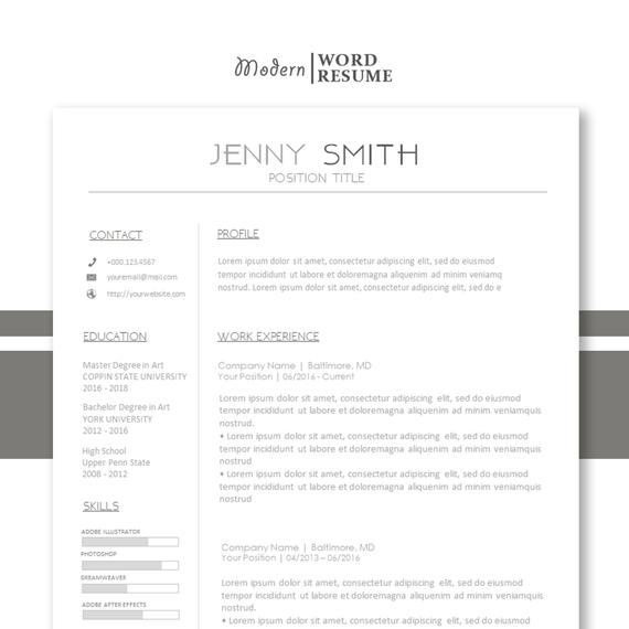 resume one template reference cover letter all etsy for il 570xn mgab server hostess high Resume Reference Page For Resume Template