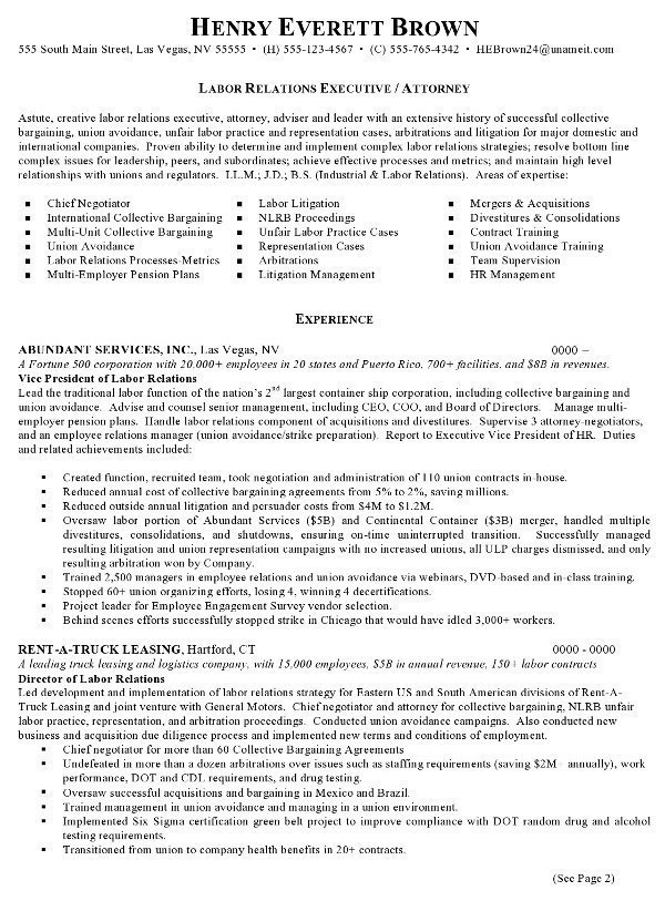 resume sample attorney labor relations executive career resumes experienced samples pg1 Resume Experienced Attorney Resume Samples