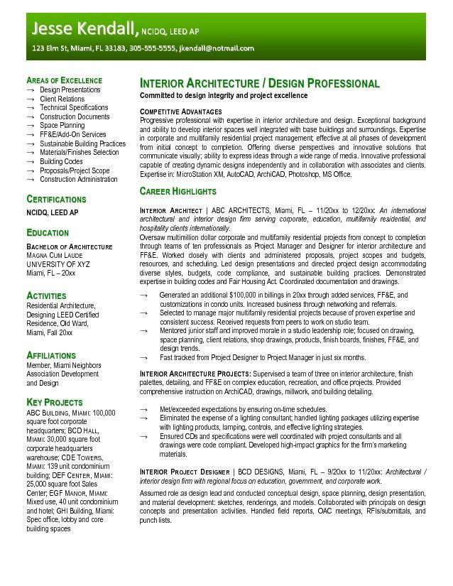resume sample for fresher architecture interior design template architect profiler vcard Resume Fresher Architect Resume