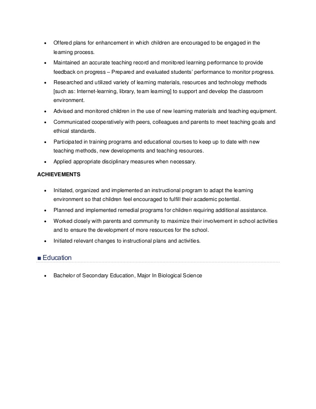 resume sample for teachers education majors activities on example linkedin writers Resume Sample Resume For Education Majors