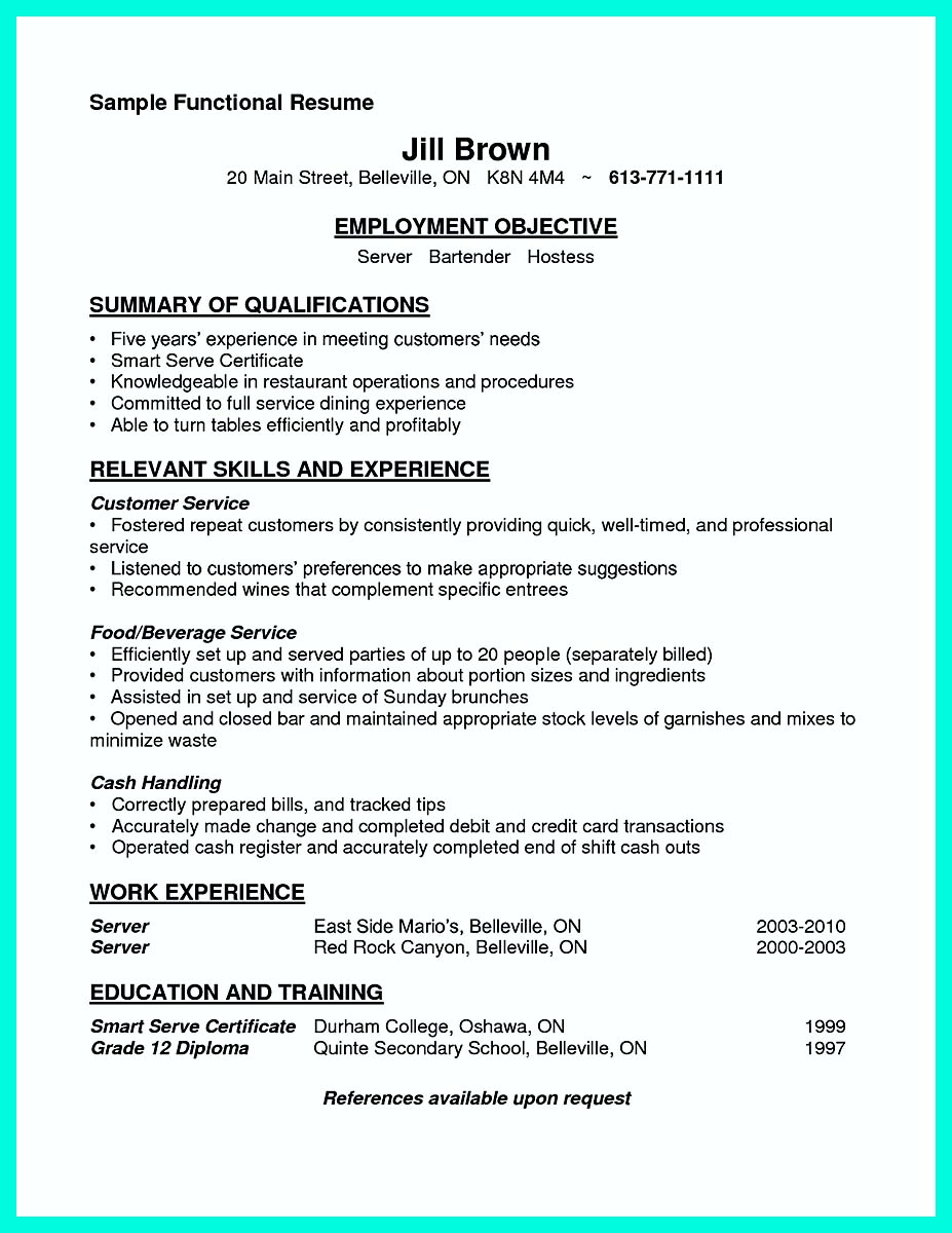 resume sample for waiter position cocktail server job description freelance technical Resume Cocktail Server Job Description Resume