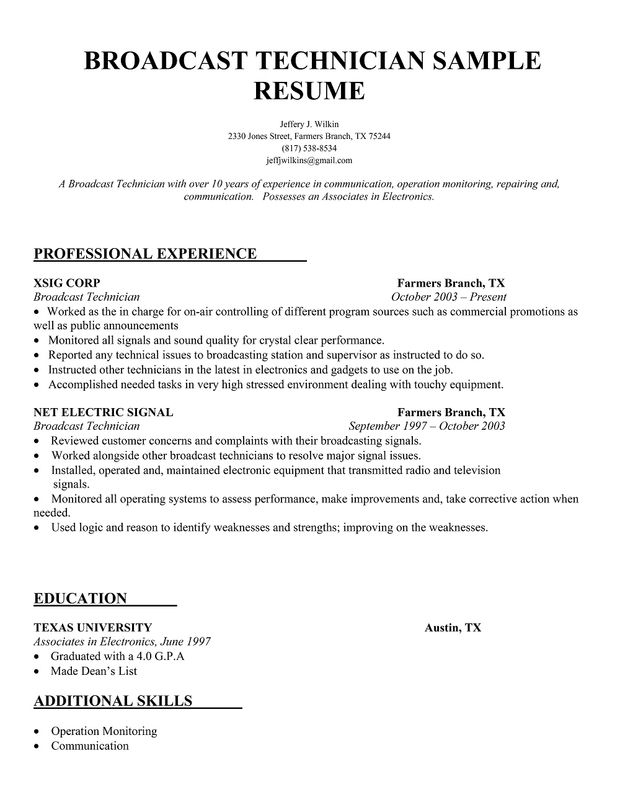 resume samples and to write companion job template sample broadcast engineer independent Resume Broadcast Engineer Resume