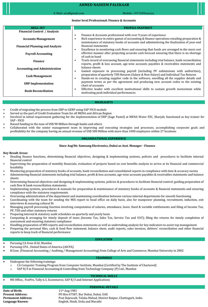 resume samples chartered accountant format naukri of experienced vfx buzz words for Resume Resume Of Experienced Chartered Accountant