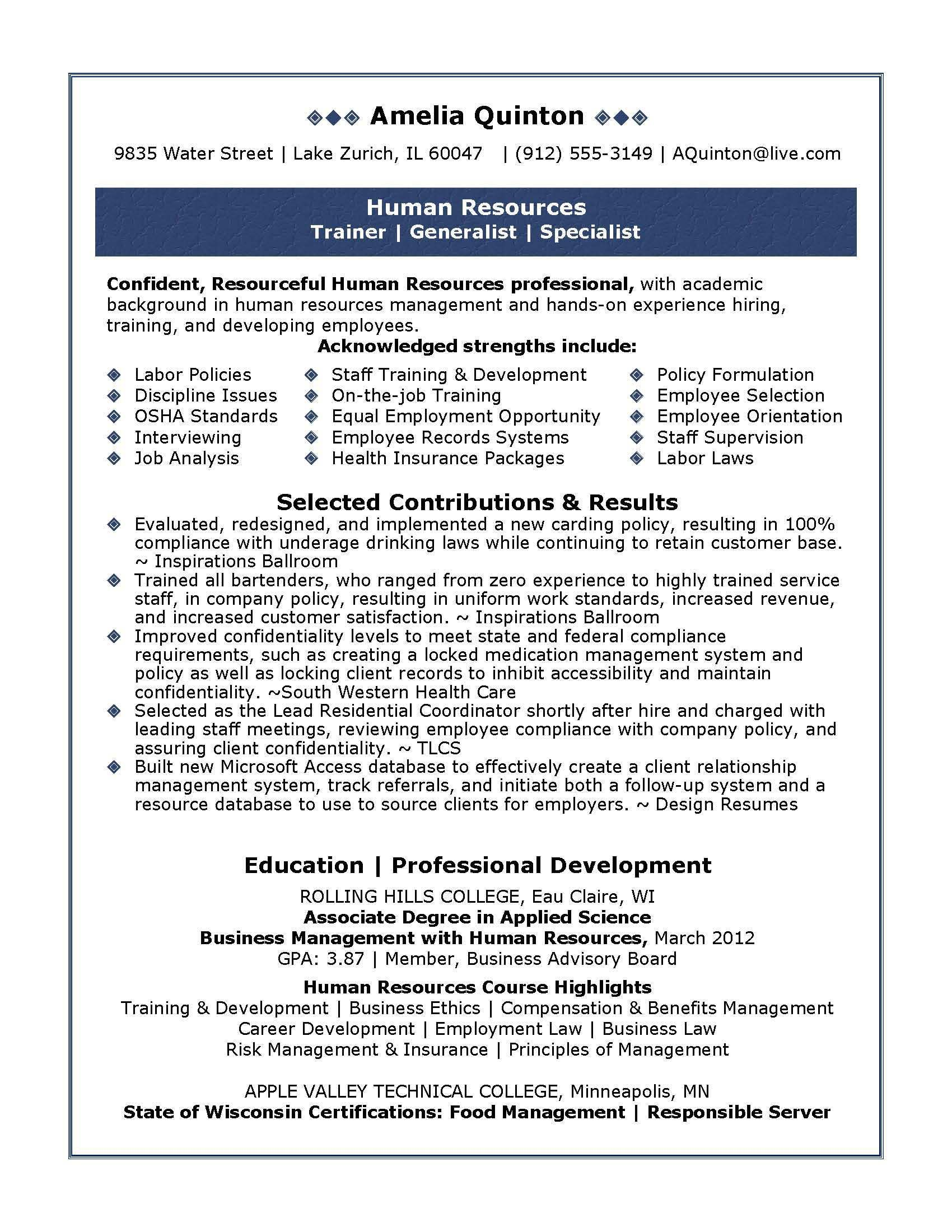 resume samples were written by julie walraven cover letter for human resources format Resume Resume Format For Formulation And Development