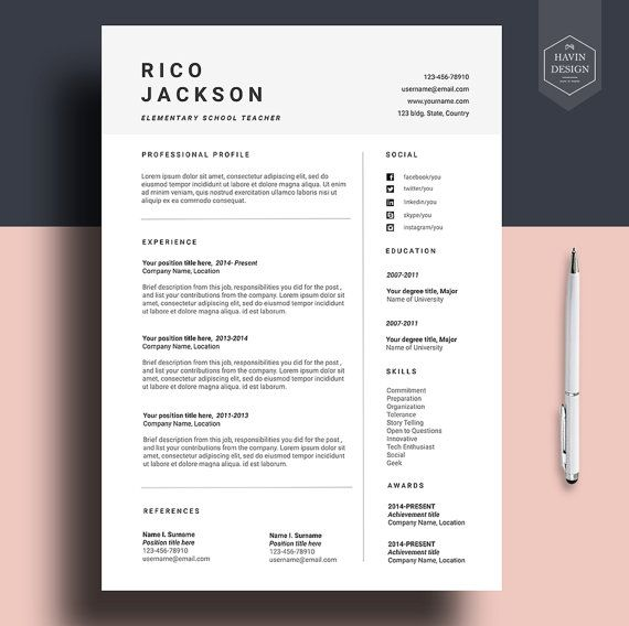 resume template for ms word cv with free cover letter professional design creative simple Resume Modern Simple Resume Template