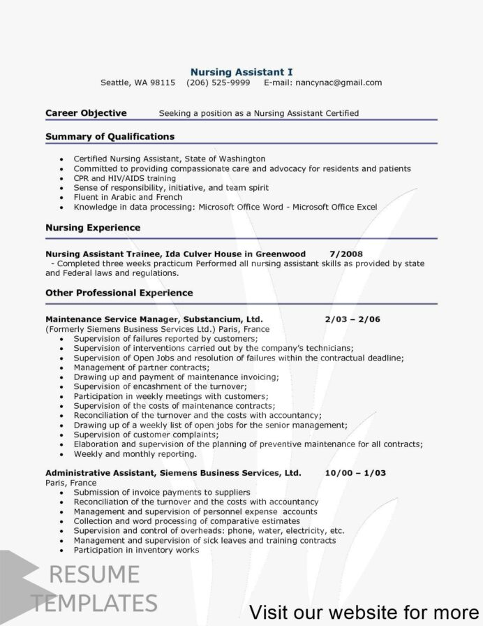 resume template free google docs word nursing assistant certified finance officer summary Resume Certified Nursing Assistant Resume