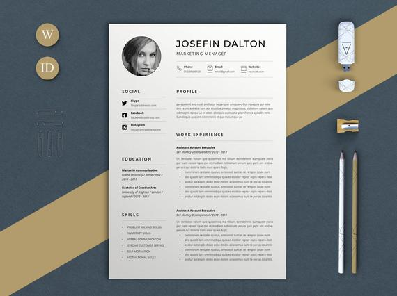 resume template minimal word etsy minimalist il 570xn k55y ender print air force address Resume Minimalist Word Resume Template