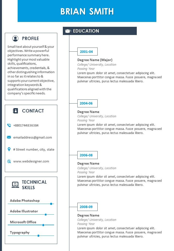 resume template with profile summary and contact details presentation powerpoint images Resume Contact Details On Resume
