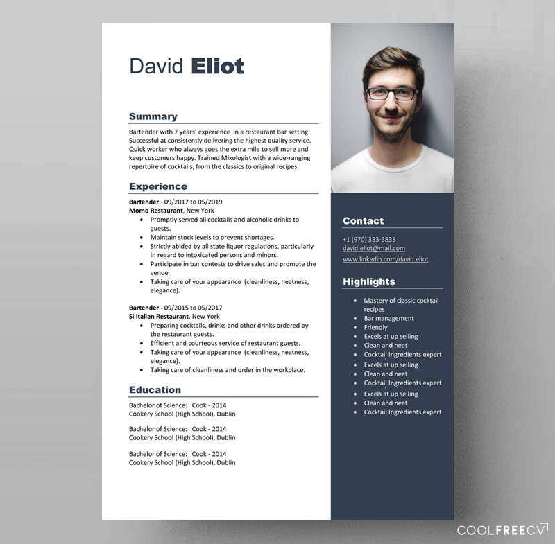 resume templates examples free word template bartender look format options assistant Resume Resume Templates 2020 Free