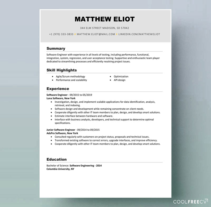 resume templates examples free word template example it markdown best skills for modern Resume Resume Template Word 2020 Free Download