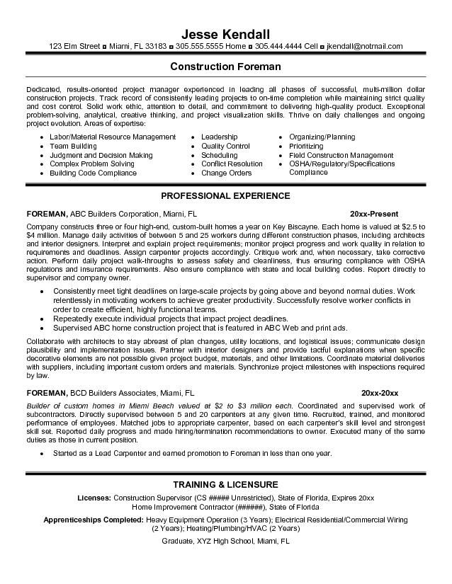 resume templates for construction foreman google search examples sample objective Resume Sample Resume For Building Contractor