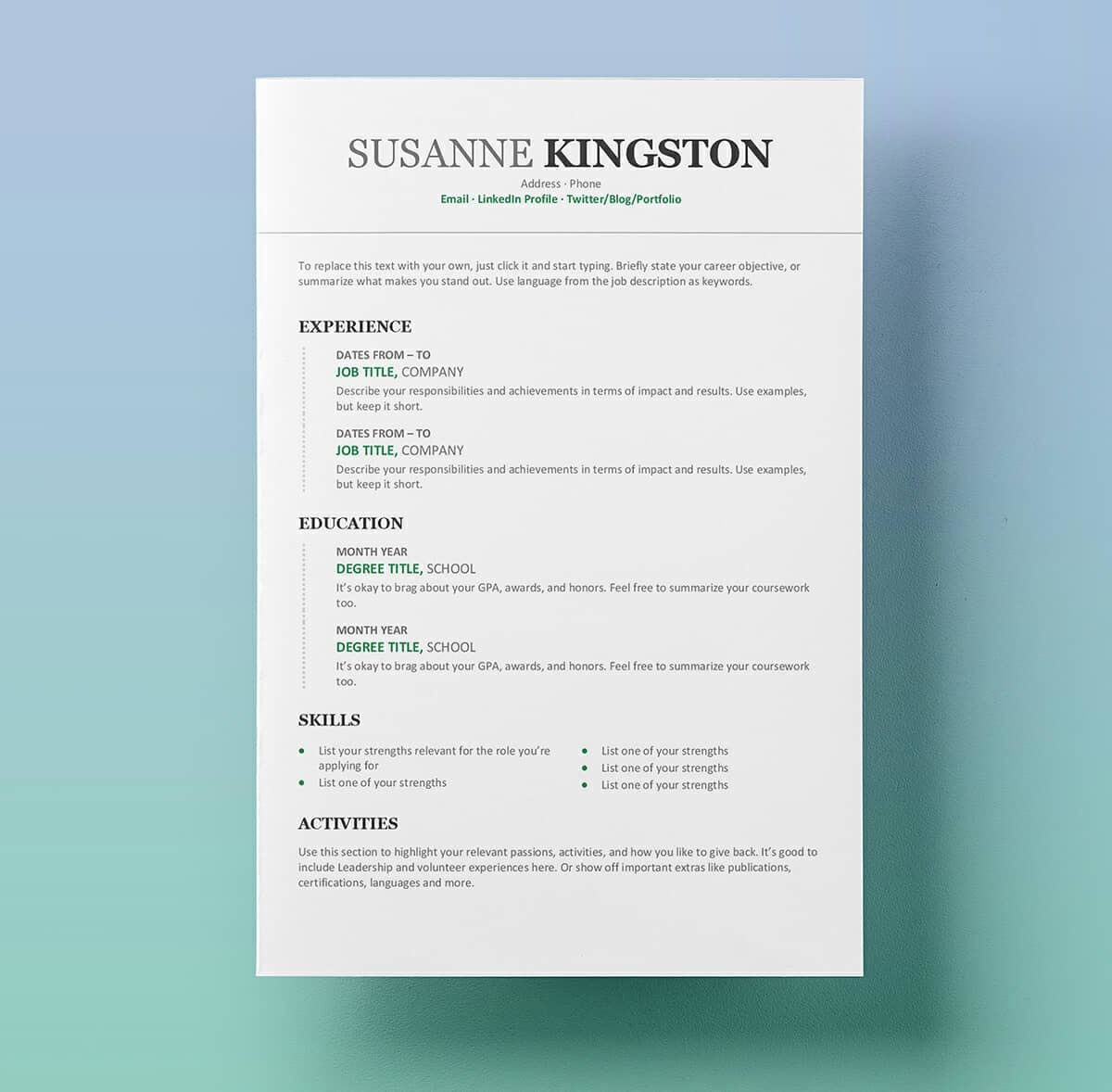 resume templates for microsoft word free document template mulesoft developer sample Resume Word Document Resume Template