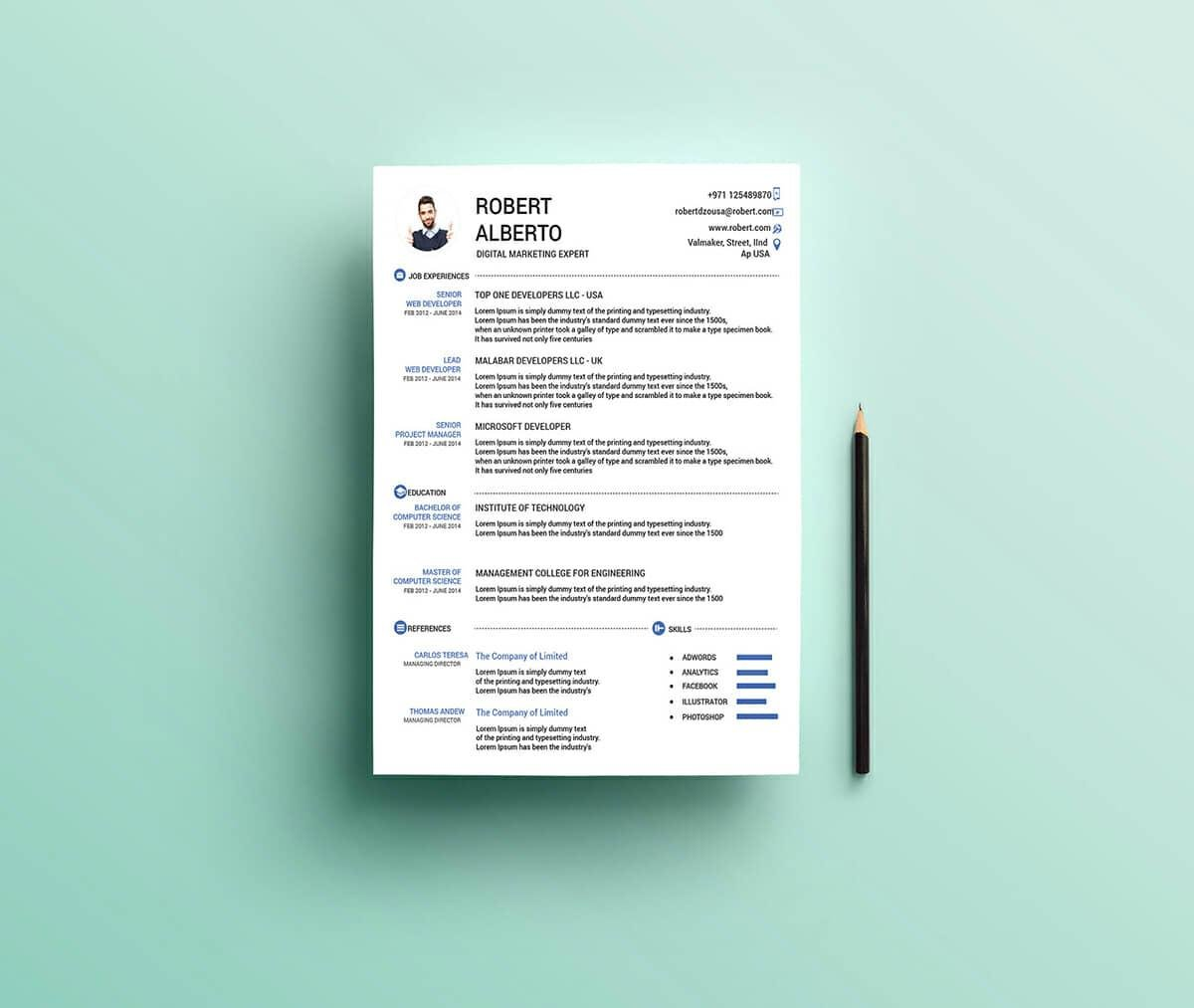 resume templates for microsoft word free one template affordable writers project manager Resume Microsoft Word One Page Resume Template