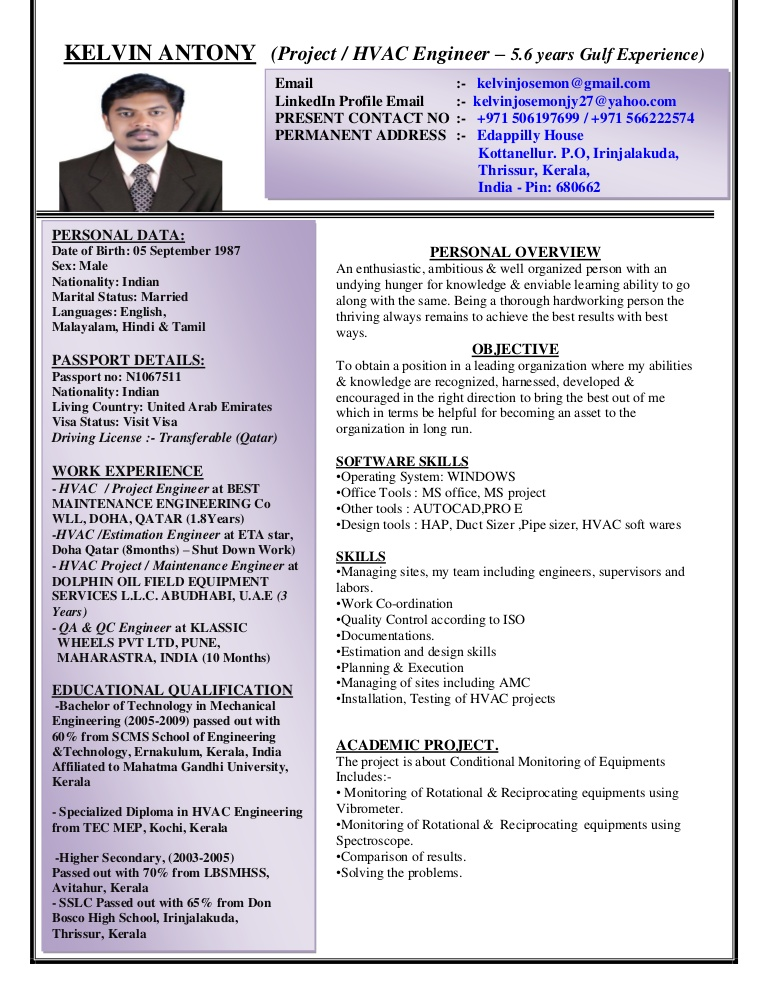 resume templates for years experience format sample barista objective examples food Resume Gulf Resume Format Sample