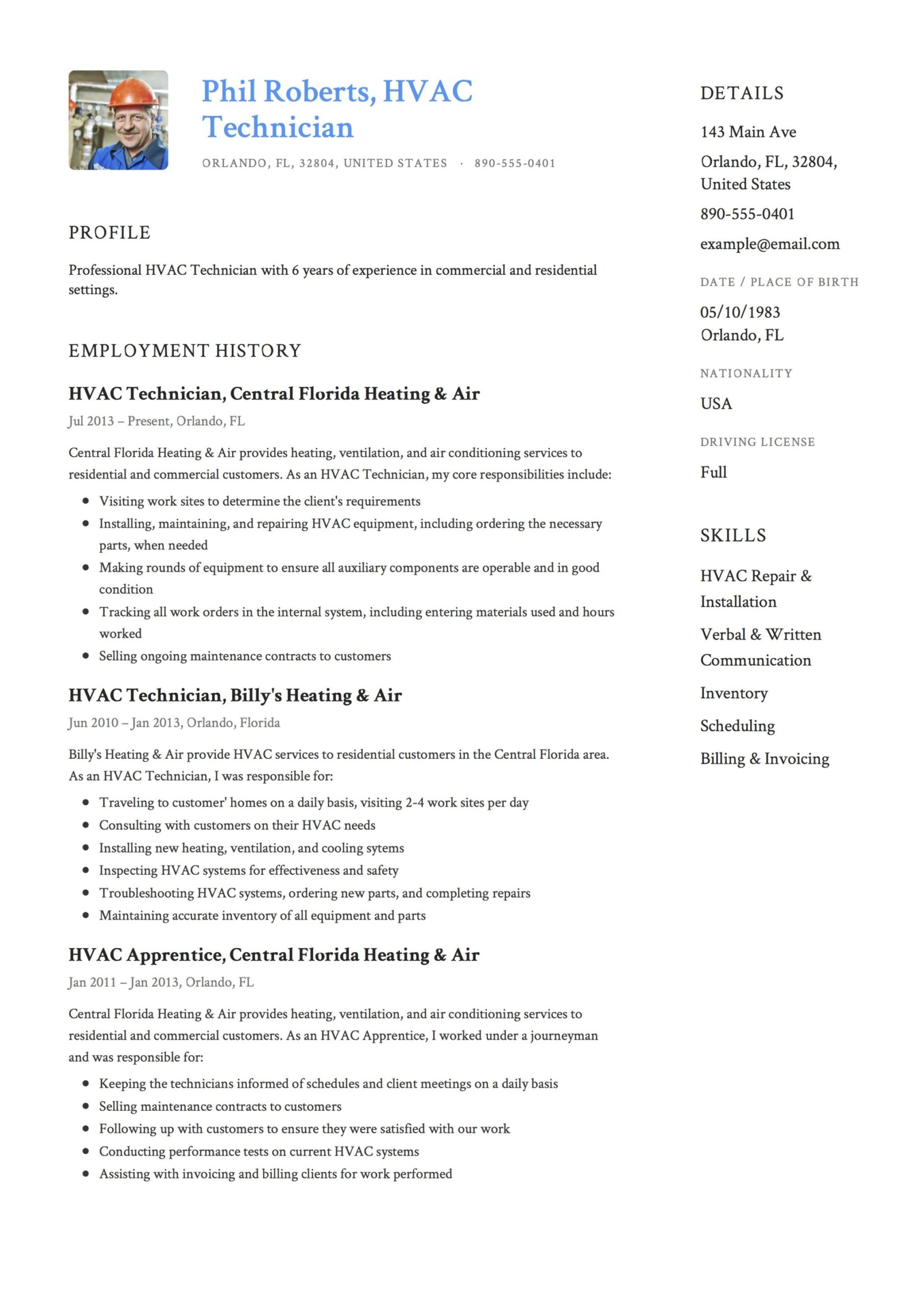resume templates pdf word free downloads and guides professional examples template hvac Resume Professional Resume Examples 2020