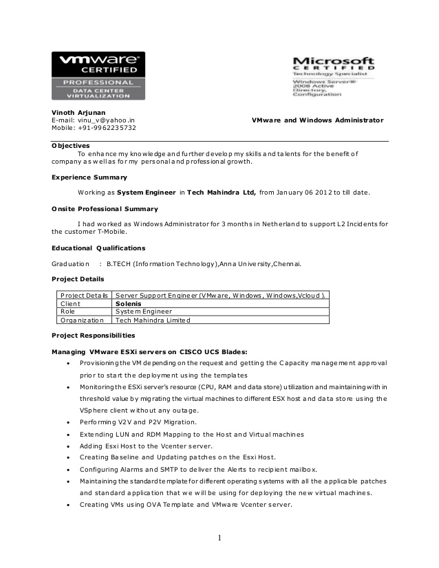 resume vmware administrator responsibilities free software for windows xp positive Resume Vmware Administrator Resume Responsibilities