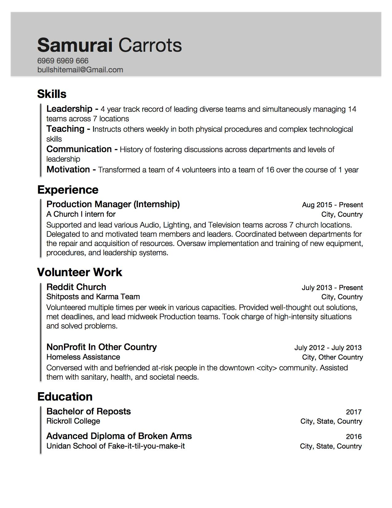 resume with little work experience but skills acquired through internship and Resume Work And Experience Resume