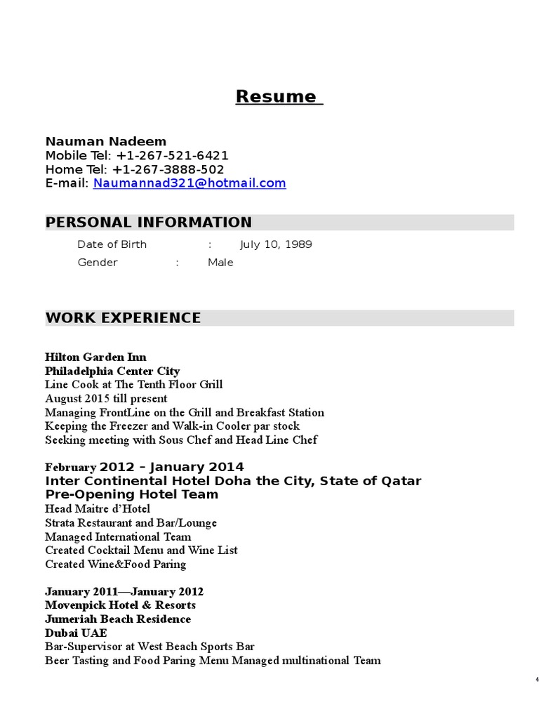 resume word dubai bar pre opening hotel experience dynamic templates sample for credit Resume Pre Opening Hotel Experience Resume