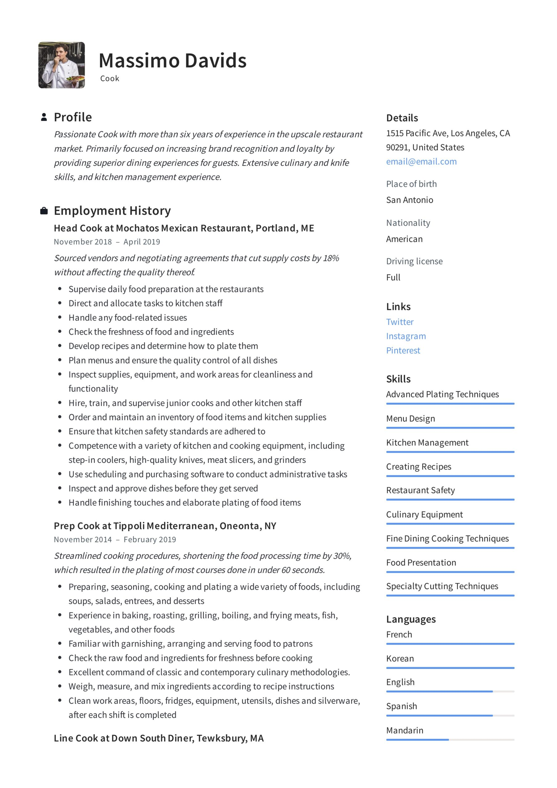 resume writing guide templates prep job description for massimo davids killer social work Resume Prep Cook Job Description For Resume