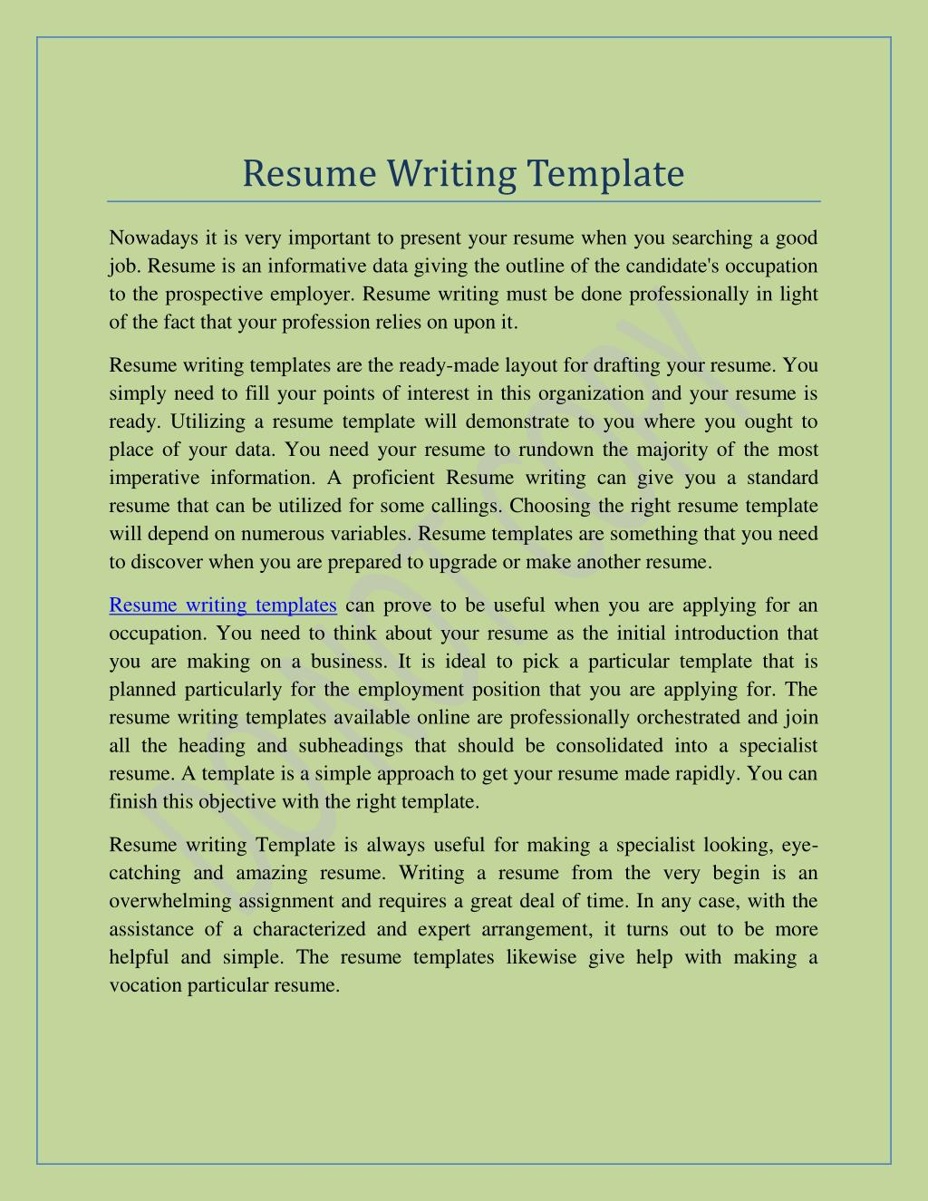 resume writing templates in minutes free professiona powerpoint presentation id template Resume Resume Writing Template
