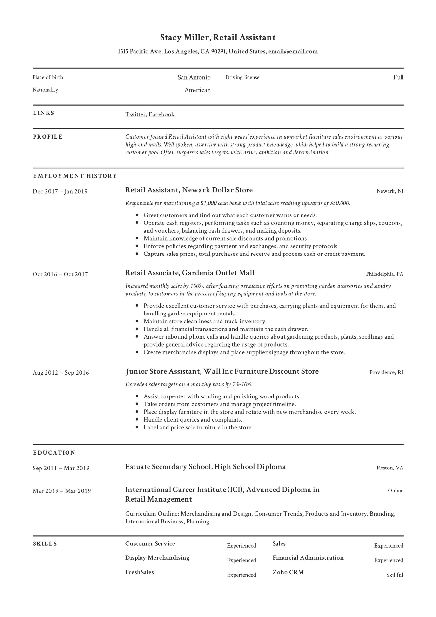 retail assistant resume samples writing guide resumeviking photographer example Resume Photographer Assistant Resume