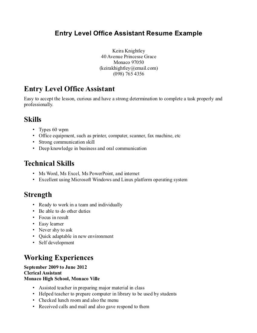 retail resume example entry level http resumecareer info administrative assistant medical Resume High School Entry Level Resume
