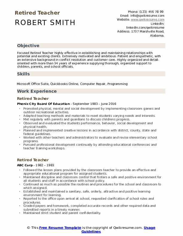 retired teacher resume samples qwikresume transition out of teaching pdf sample for Resume Transition Out Of Teaching Resume