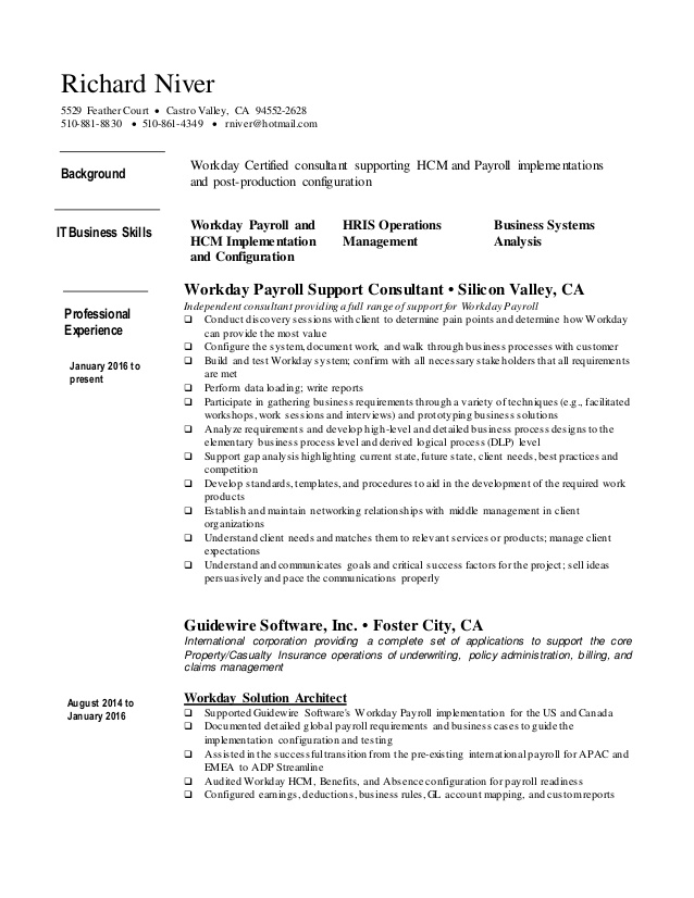 richard niver resume workday consultant career objective lines for scuba instructor Resume Workday Consultant Resume