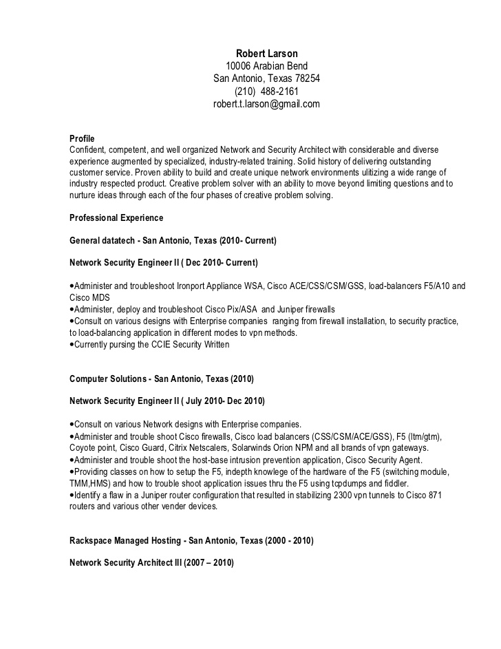 robert larson resume checkpoint firewall engineer good length cover letter for auto Resume Checkpoint Firewall Engineer Resume
