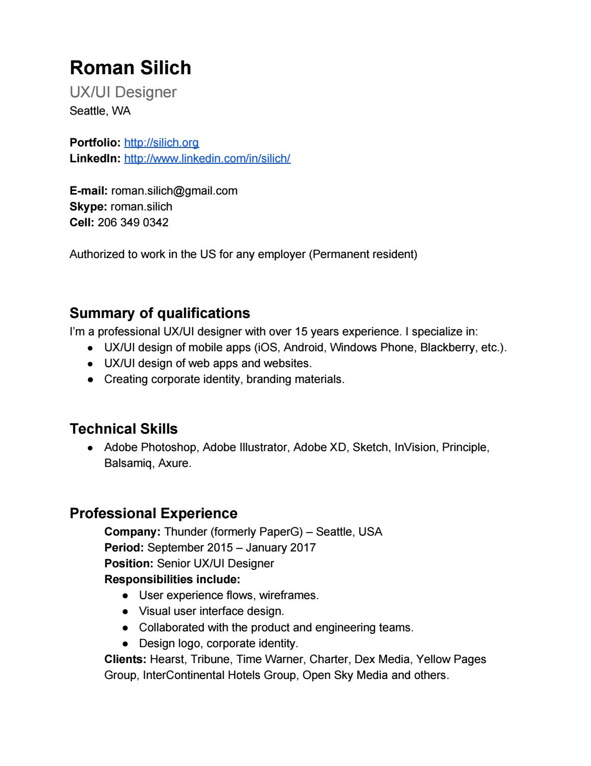 roman siich resume by silich issuu permanent resident downloadable templates education Resume Resume Permanent Resident