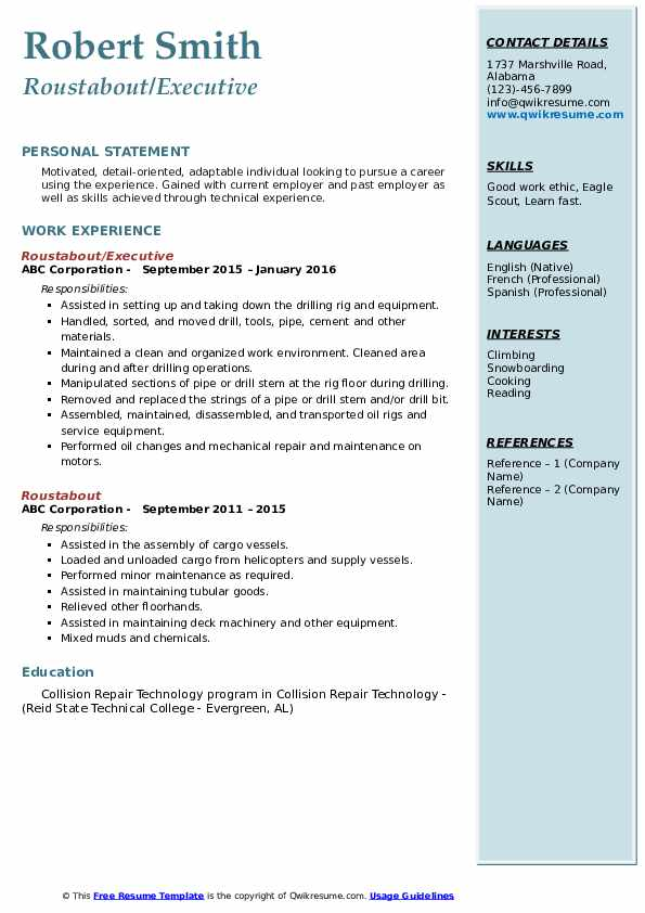 roustabout resume samples qwikresume model pdf handyman summary blank form quality Resume Roustabout Resume Model