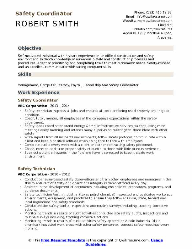 safety coordinator resume samples qwikresume pdf example skills for customer service ccna Resume Safety Coordinator Resume