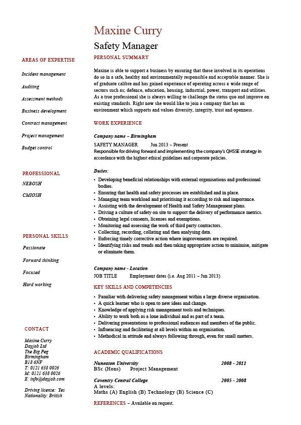 safety manager resume sample example job description template health hazards accidents Resume Safety Coordinator Resume