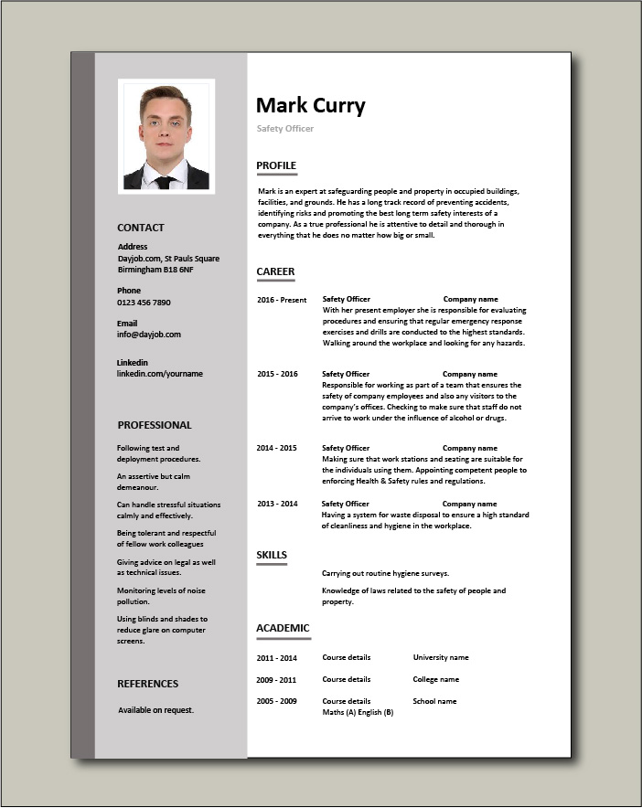 safety officer resume health sample template job description compliance issues experience Resume Safety Experience Resume