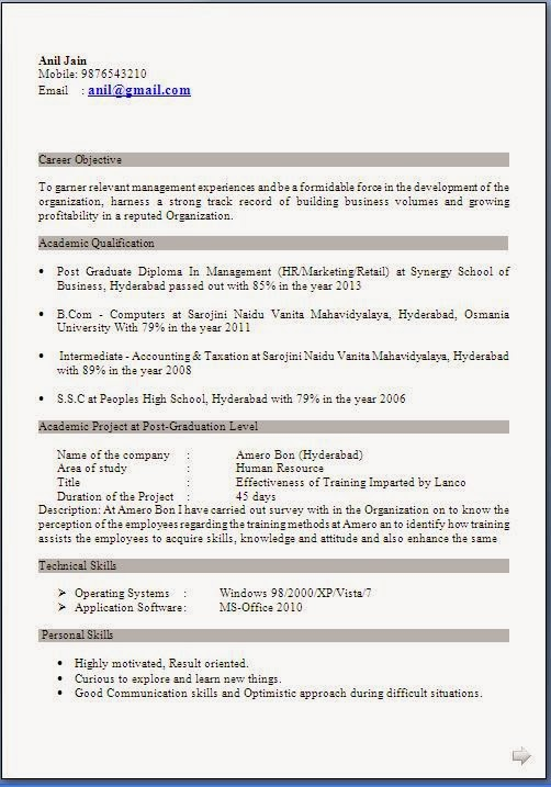 sample cv format for mba freshers resume interview hr free perl developer should use Resume Resume For Mba Interview