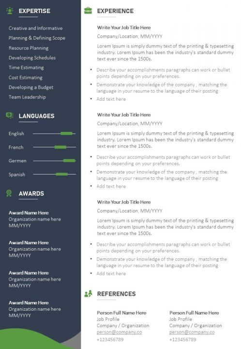 sample cv template with profile summary and contact details graphics presentation Resume Contact Details On Resume