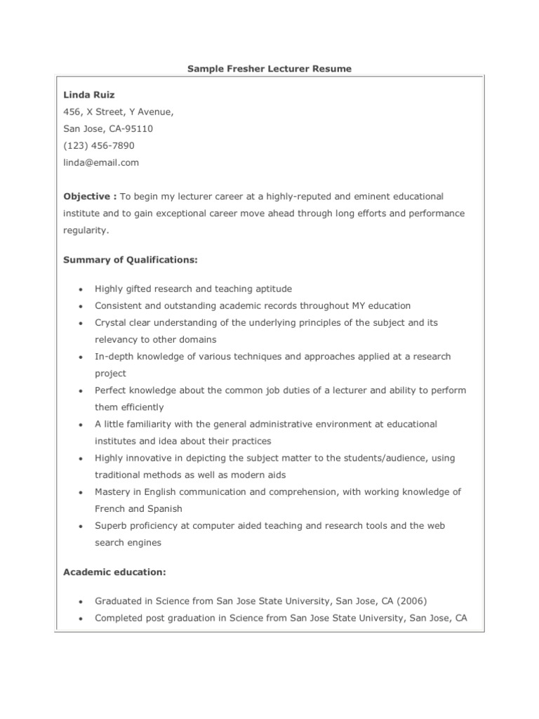 sample fresher lecturer resume university science guest samples biotech writing personal Resume Guest Lecturer Resume Samples