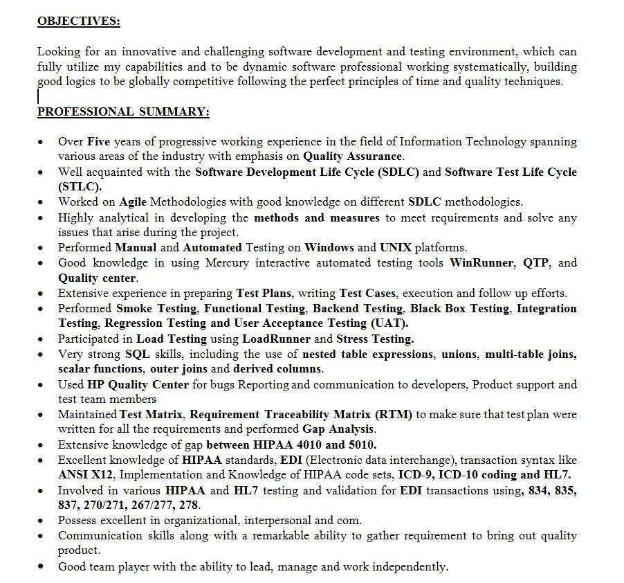 sample healthcare qa analyst resume onlinedealsusa domain project description for summary Resume Healthcare Domain Project Description For Resume