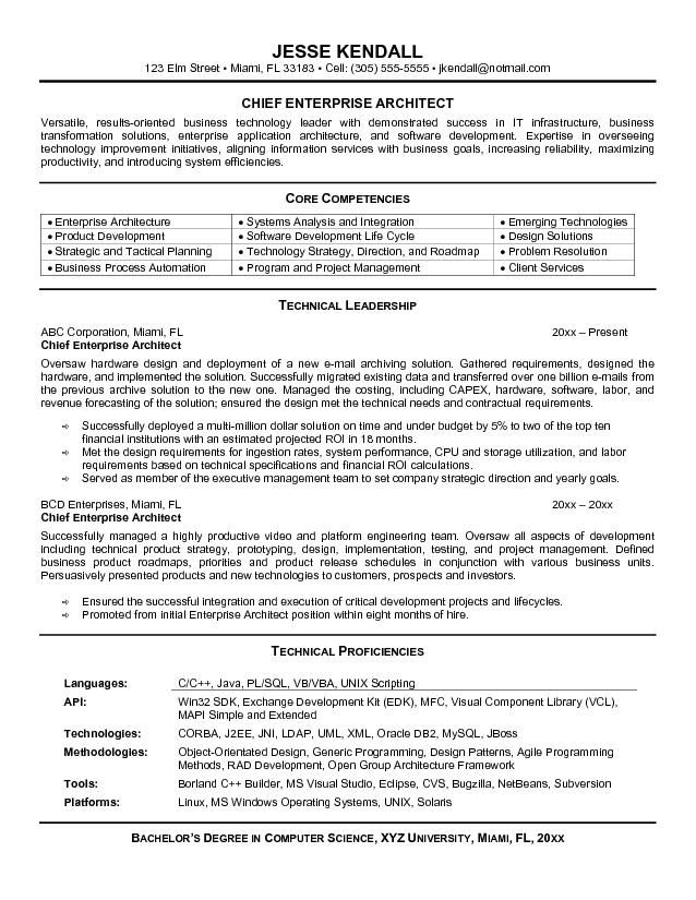 sample of enterprise architect resume job samples architecture personality summary for Resume Enterprise Architecture Resume