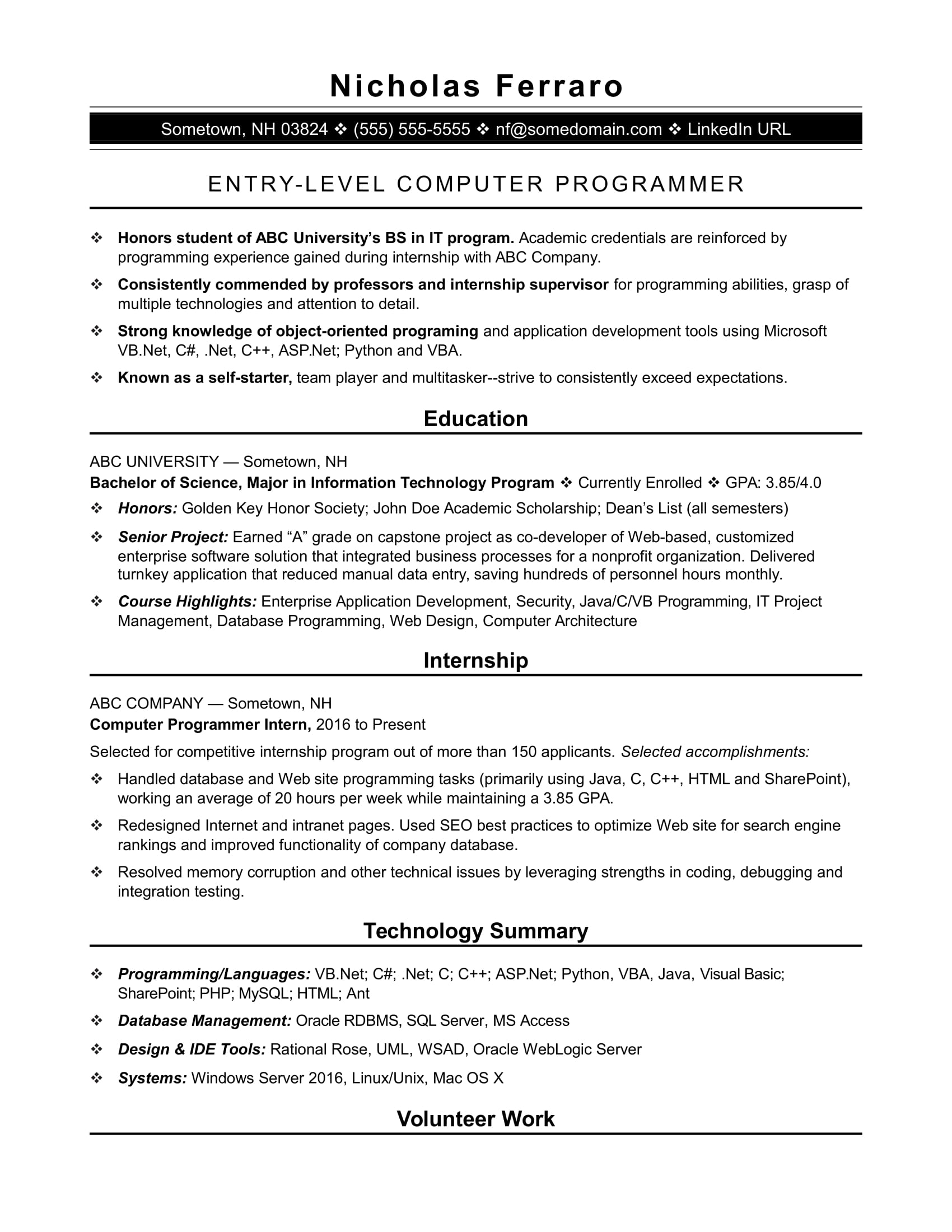 sample resume for an entry level computer programmer monster housekeeping example hotel Resume Computer Programmer Resume Sample