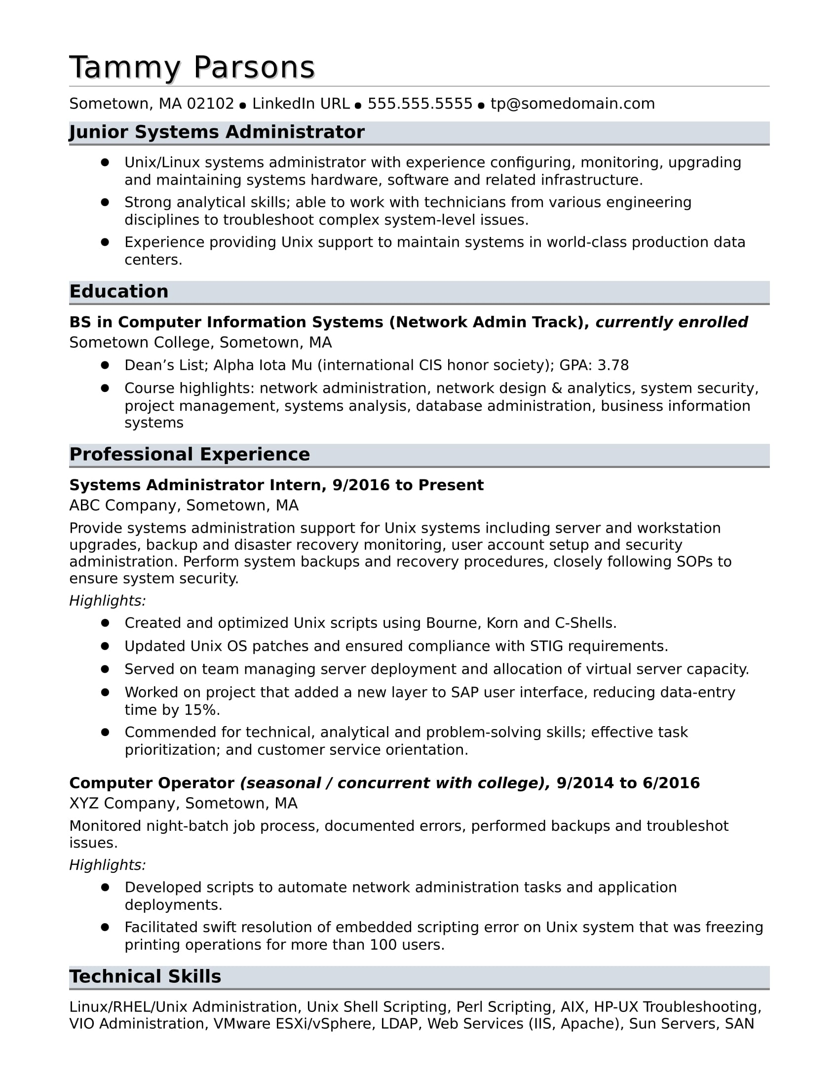 sample resume for an entry level systems administrator monster system collection profile Resume System Administrator Resume Sample Download