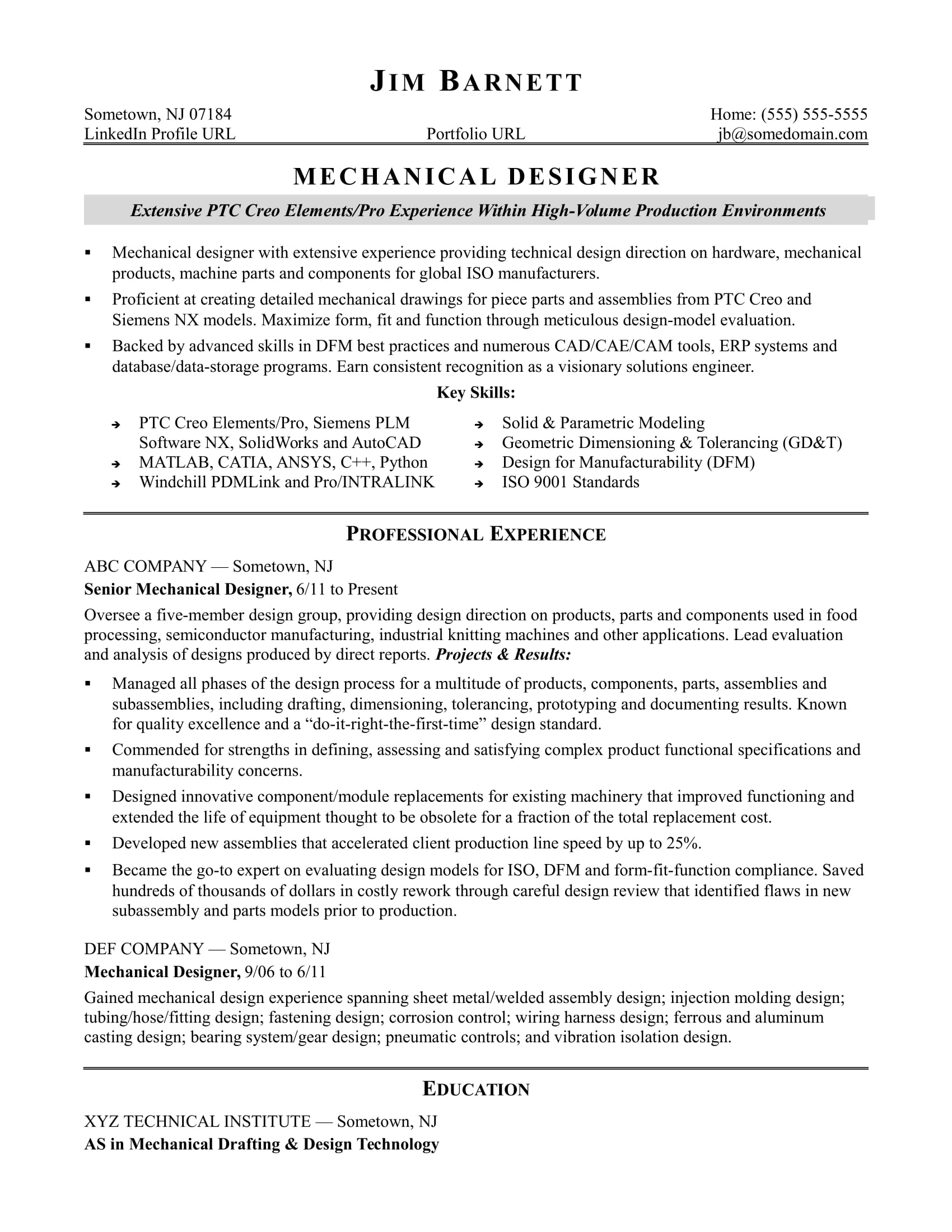 sample resume for an experienced mechanical designer monster tool design engineer Resume Tool Design Engineer Resume