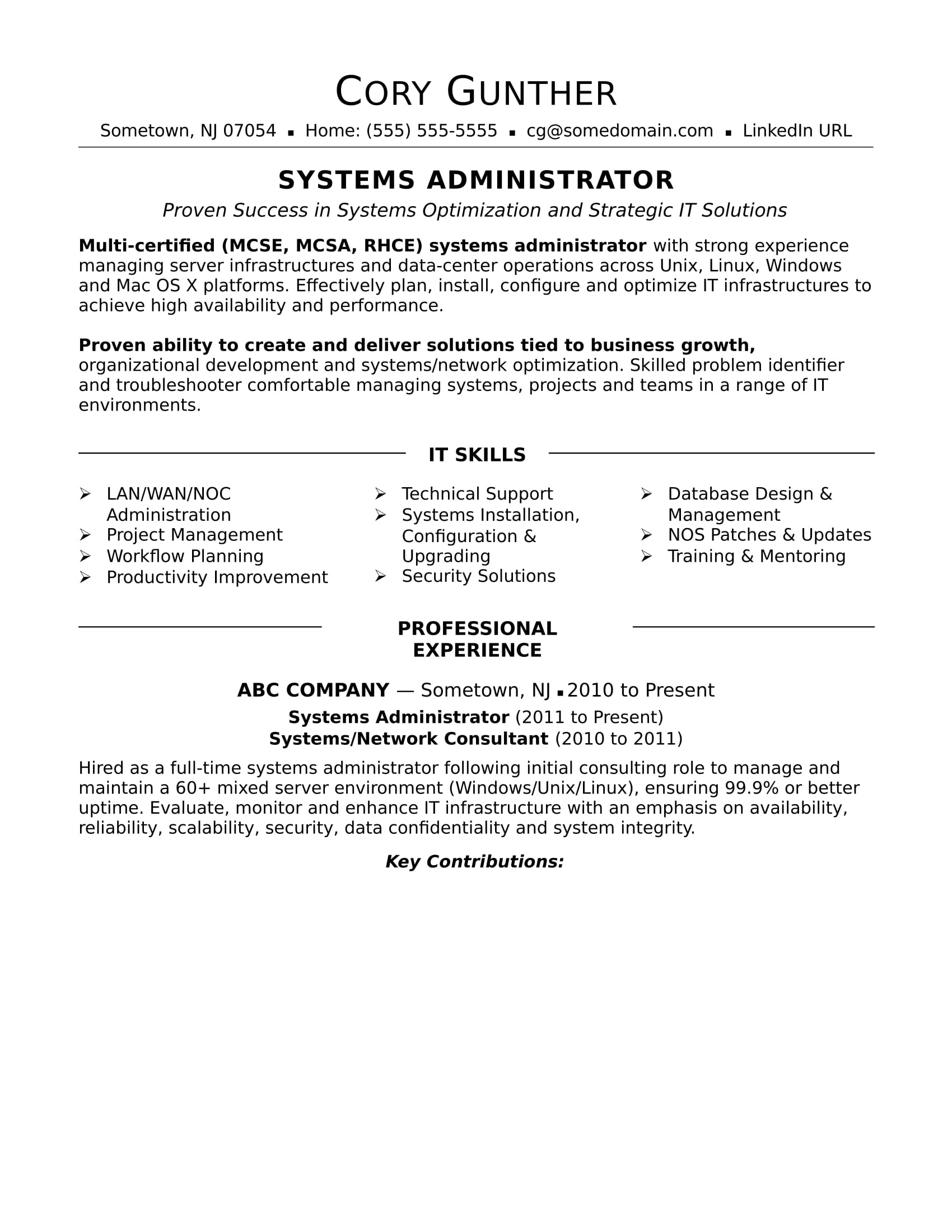 sample resume for an experienced systems administrator monster system admin format Resume System Admin Resume Format