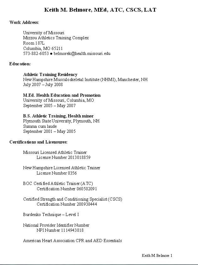 sample resume for athletic trainer danetteforda college education on kfc assistant Resume Athletic Trainer Resume Sample