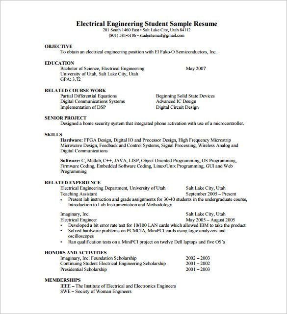 sample resume for electronics engineering student electronic engineer samples and Resume Resume Samples For Electronics And Communication Engineers